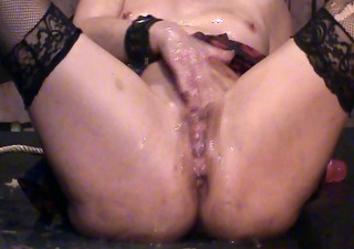 golden-haired on a platform masturbating and